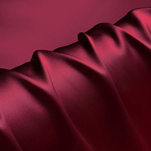 100% Pure Silk Fabric Wine Red Charmeuse Fabrics by The Pre-Cut 1 Yard for Sewing Apparel Width 44 inch