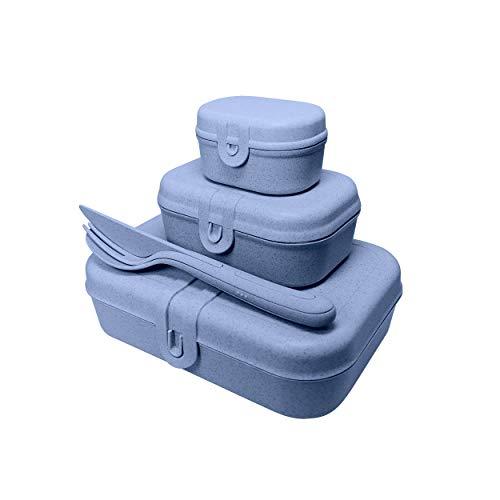 Koziol Pascal Ready Lunchbox-Set + Besteck-Set Organic Blue, 3168671