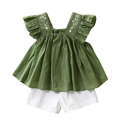 Moneycom❤Enfants Fille Manches Courtes Couleur Pure Robe de Doublure de Broderie Short Blanc Vert(5-6 Ans)