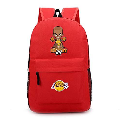 TFTREE Cartoon Q Kobe Basketball Lakers Kobe Nr. 24 Männer und Frauen Mittelschüler Umhängetasche Sportrucksack Canvas Bag Schwarz-Red