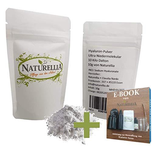 Naturellia 10 Gramm Ultra Niedermolekulare Hyaluron-Säure Pulver hochdosiert 10 Kilo-Dalton Hyaluronic Acid Powder zur Herstellung einer Anti-Aging Face-Cream für zu Hause