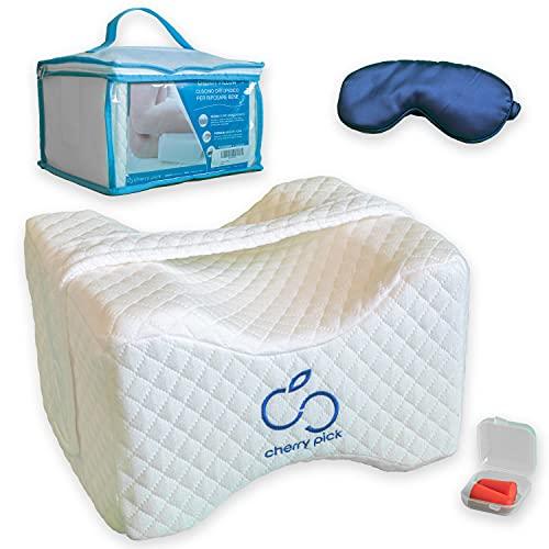 Cherry Pillow - Almohada ortopédica de espuma viscoelástica, para piernas y pies, ergonómica, para ciática, lumbalgia y embarazo, incluye tapones para los oídos y antifaz