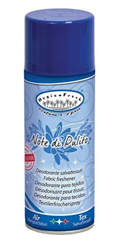 HygienFresh Note di Pulito - Deodorante Spray Professionale per Tessuti Ambiente Auto Cassetti Scarpe Casco Armadio Profumo Hotel Palestra Talco Accessori Lavanderia - 400 ml