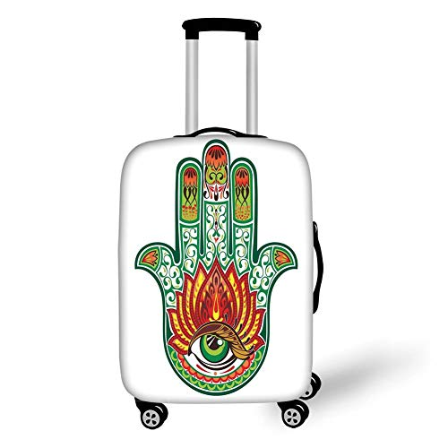 Travel Luggage Cover Suitcase Protector,Hamsa,Middle Eastern Culture Hamsa Hand of Fatima Figure with Defense of Evil Eye Theme,Green Red,for Travels 19x27.5Inch