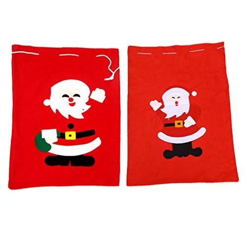 STOBOK Large Christmas Bags 2Pcs, 70X50CM Non-Woven Presents Storage Christmas Sacks Oversize Xmas Heavy Duty Party Favor Supplies Drawstring Packing Pouches