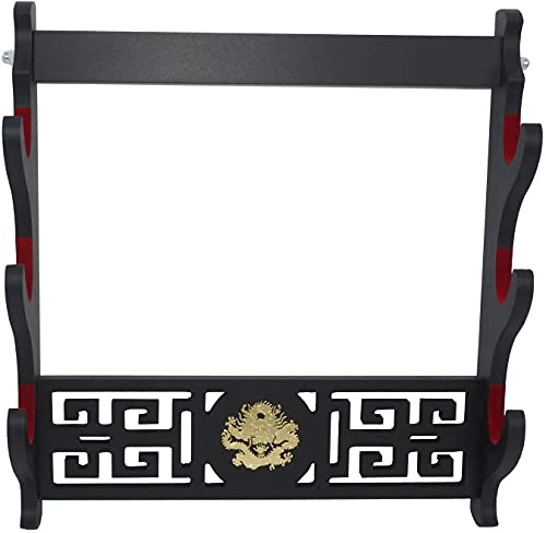 wangjian Dragon Logo Sword Stand Parete Mount Samurai Sword Holder Katana Wakizashi Tanto Spada Imbottita Stand Appendiabiti Pattern Hollow Pattern,3Tier