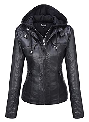 Springrain Women's Casual Stand Collar Detachable Hood PU Leather Jacket (X-Large, Black)