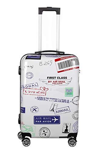 Birendy Birendy Reisekoffer Polycarbonat Hartschalen Hardcase Trolley mit Zahlenschloss Koffer Kofferset 4 Rollen einfacher Transport (A8-Poststempel, Koffer XXL 74x48cm)