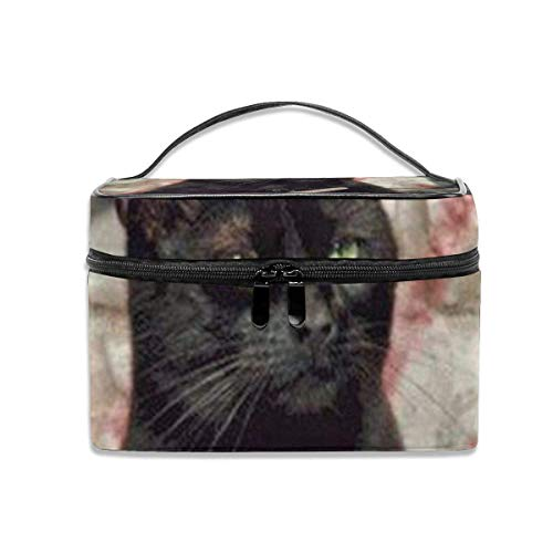 Black Cat Travel Cosmetic Case Organizer Portable Artist Storage Bag, Multifunction Case Toiletry Bags-32-OE