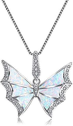 FACAIBA Collar con Colgante de Mariposa de ópalo Azul/Blanco Brillante, Relleno de circonita cúbica de la Suerte, Collar de Boda Nupcial para Mujeres y Hombres, Regalo