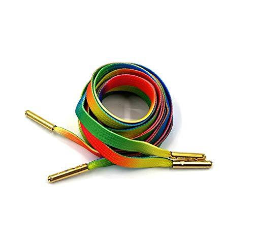 1 par de cordones planos de impresión con puntas de metal dorado plateado bandera cebra arco iris colorido patrón deportivo cordones para todos los zapatos