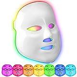Maschera a LED 7 colori fototerapia della pelle Maschera per la cura della pelle del viso per la rimozione delle rughe Acne Spot Ringiovanimento (Bianco)