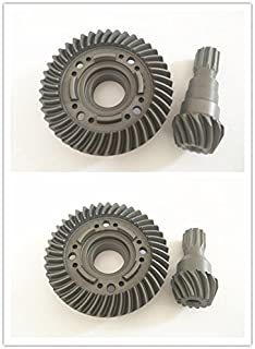 CrazyRacer Hard Chrome Steel Front & Rear Spiral Cut Ring Gear Differential/Pinion Gear For 1/5 6S RC Car 77076-4 Truck Hop-ups Instead Of 7777X 7778X