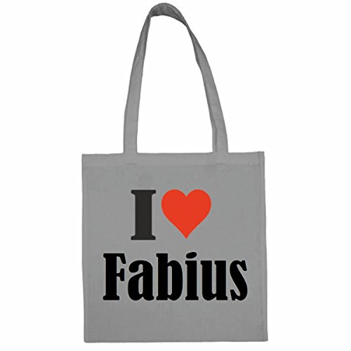 Tasche I Love Fabius Größe 38x42 Farbe Grau Druck Schwarz