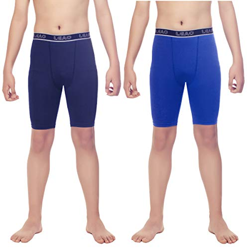 LEAO Youth Boys Compression Shorts 2-Pack Performance Athletic Underwear Sports Boxer Briefs Navy/Royal Blue M