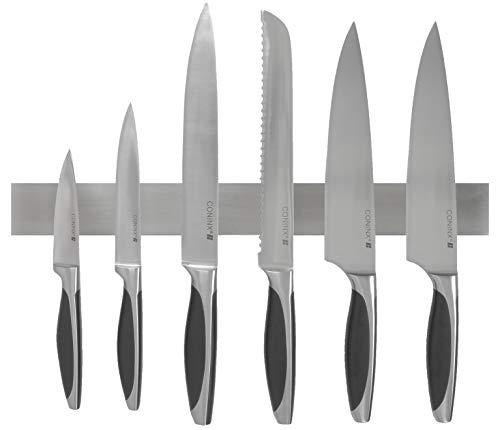 Barra magnetica per coltelli della Coninx da 40 cm- striscia banda pensile per coltelli in acciaio inossidabile - Soluzione sicura e facile per deporre i coltelli da cucina, gli utensili in metallo e tanto altro - montaggio a parete supporto per coltelli orizzontale / scaffale