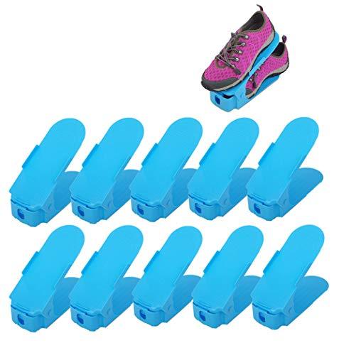 10 Pezzi Creativo Durevole Regolabile scarpiera salvaspazio plastica Shoe Organizer, Scarpe salvaspazio Holder Shoe Rack-Blue