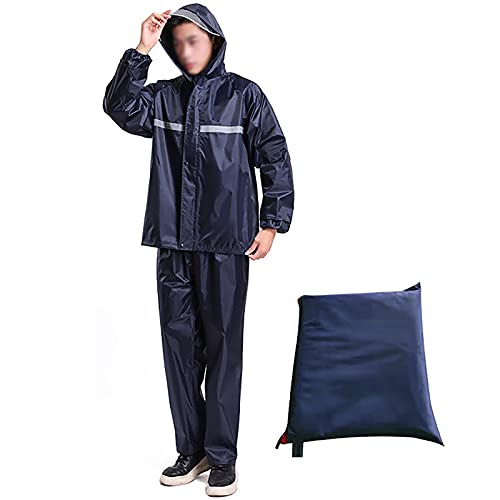MINGJ Tuta Impermeabile Giacca Pantaloni Unisex Uomo/Donna, Antipioggia Moto 100% Impermeabile, Traspirante Tuta Antipioggia Riflettente(XXXXXL,Navy)
