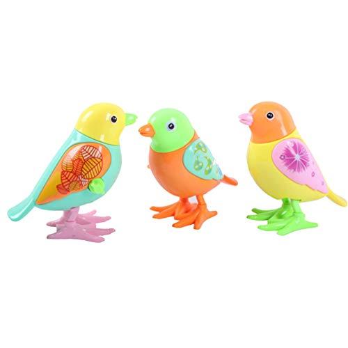 Toyvian 3 figuras de juguete para bebé, diseño de pájaro, juguete de cuerda, figura decorativa de animales, Navidad, fiesta, regalo para niños (color aleatorio)