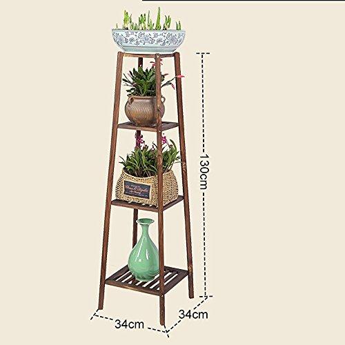 LLLXUHA Bois massif Multi-couche Coin Support de fleurs, Simple Type de plancher intérieur Cadre de bonsaï, balcon Succulentes Présentoir , Primary Color , 34*34*130cm