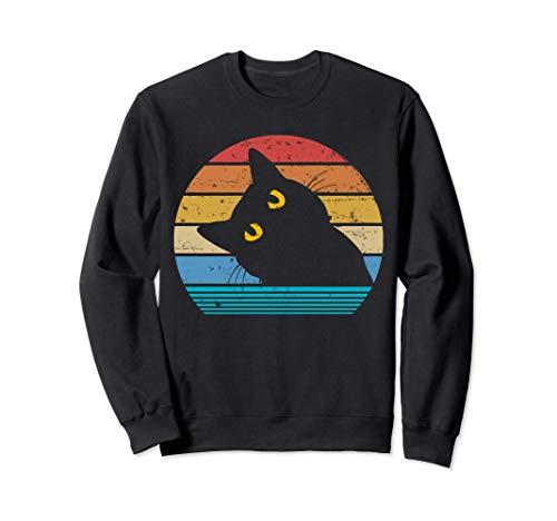 Amante retro del gato negro estilo vintage gata linda gatito Sudadera