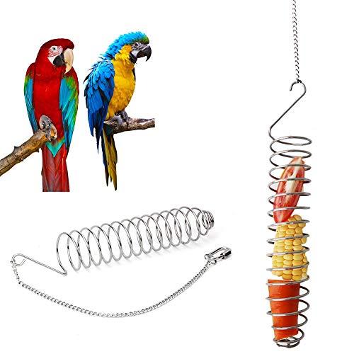 Futterspirale Vogel Spiral Feeder Vogel Obsthalter Edelstahl Gemüse Spieß Hängende Lebensmittel Feeder Papagei Lebensmittel Früchte Korb Vogel Futtersuche Spielzeug Für Sittich Nymphensittich Conure