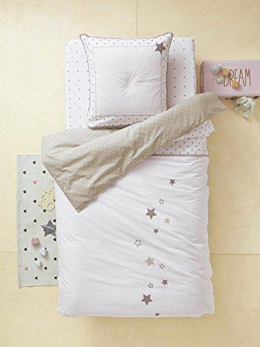 Vertbaudet Kinder Bettwäsche-Set Sternenregen weiß Bedruckt 140X200 - Kissen 80X80