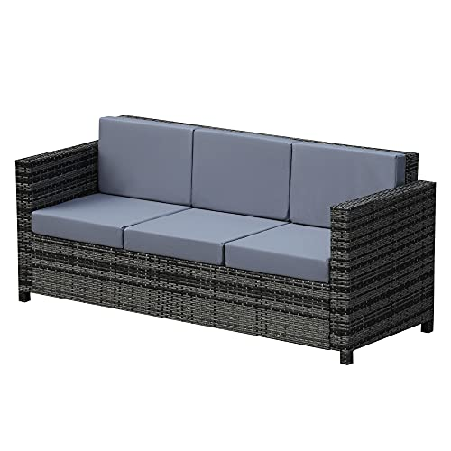 Outsunny 3 Seater Rattan Sofa All-Weather Wicker Weave Metal Frame Chair with Fire Resistant Cushion - Grey