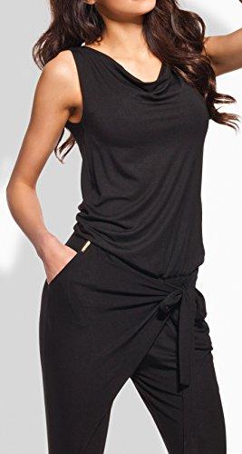 Lemoniade stylischer Jumpsuit ohne Ärmel mit elegantem Wasserfallkragen, schwarz, Gr. M - 2