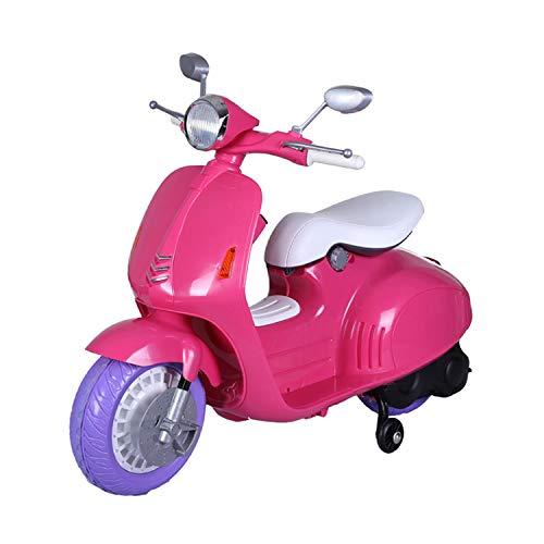 FP-TECH Moto ELETTRICA Scooter Elettrico per Bambini Motocicletta 2 POSTI con USB MP3 LED (Rosa)