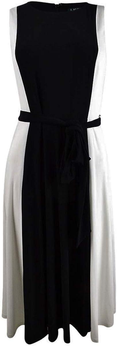 LAUREN RALPH LAUREN Mid Weight Matte Jersey Murila Sleeveless Day Dress Black/Colonial Cream 10