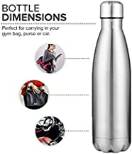 Gold Thermos Flask Coffee Water Bottle 500ml 17 oz stainless steel White BPA Free (Silver)