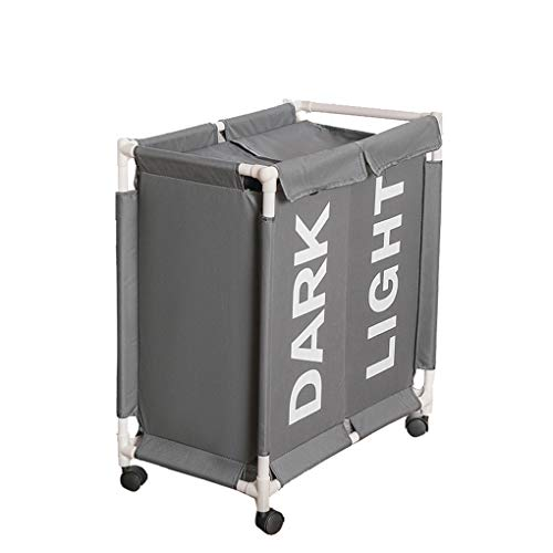 YJJY grote wasmand waszak met wielen en 2 vakken, stoffen wasbox, organizer om wasgoed te verzamelen, multifunctionele opbergtas voor speelgoed