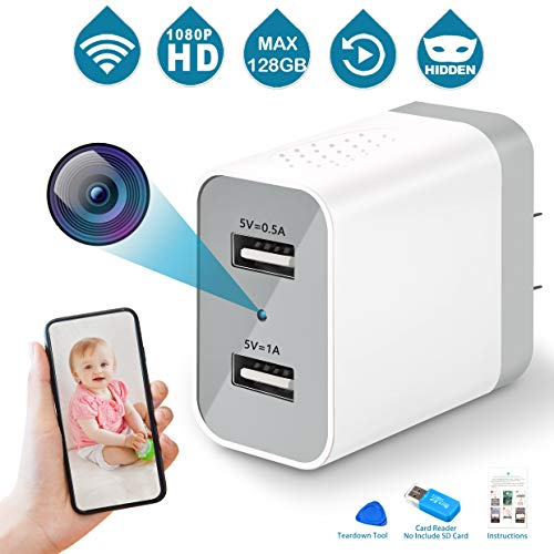 Spy Camera Wireless Hidden, 2019 Upgraded Version WiFi Camera 1080P HD Hidden Camera Wall Charger Nanny Cam with Remote Viewing & Motion Detection for Home, Office, Store - White