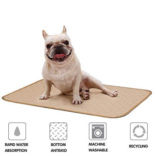 Doglemi Erziehungsunterlage für Hunde, waschbar, wiederverwendbar, schnell absorbierend, Unterlage für Welpenurin, Wickelunterlage mit wasserdichter, rutschfester Unterseite für Hunde Beige (M)