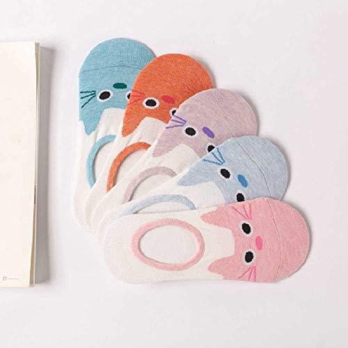 TUOLUO 5 Paare Candy Color Kleintier Cartoon Bootssocke Für Sommer Atmungsaktive Weiche Mädchen Funny OneSize/Grau