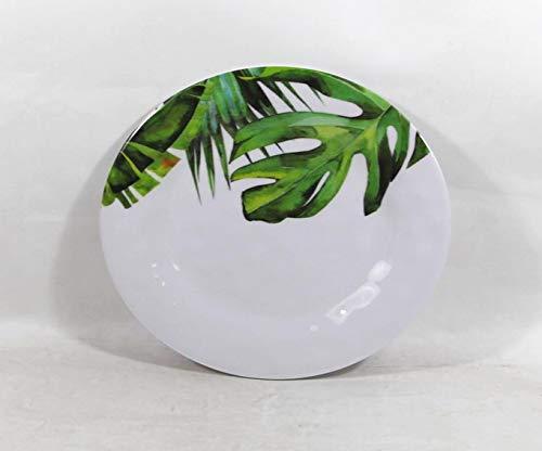 Set of 4 All For You Melamine Dinner Plates Green Leaves Everyday Use Dinner Dishes Set (8.5')