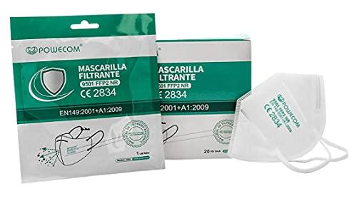 Powecom FFP2 Maske Atemschutz Mundschutz Atemschutzmaske CE 2834 Einzelverpackung/20 Stück kleine Größe