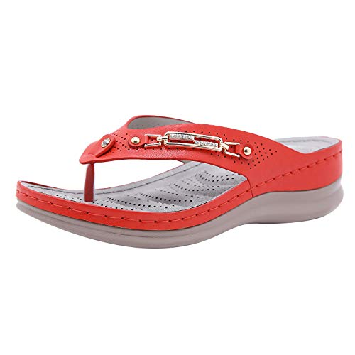 white strappy sandals boho composite toe rhinestone wedges sandals cheap flip flops fire and safety shoes clear sandals simple beautiful breathable summer (Red 8)