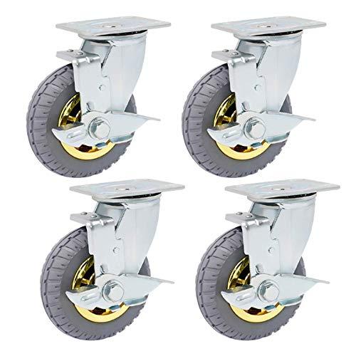 XHNXHN Ruedas giratorias, ruedas de goma para muebles de alta resistencia, ruedas móviles con ruedas de 360 grados, sin ruido, para estantes de mesa industriales, paquete de 4 (125 mm)