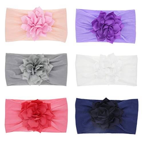 TSWRK Baby Meisjes Hoofdbanden, Pasgeboren Baby Peuter Haarbanden Kinderen Zachte Nylon Hoofddoek met Rose/Lotus Bloem Haar Accessoires(Pack van 6)