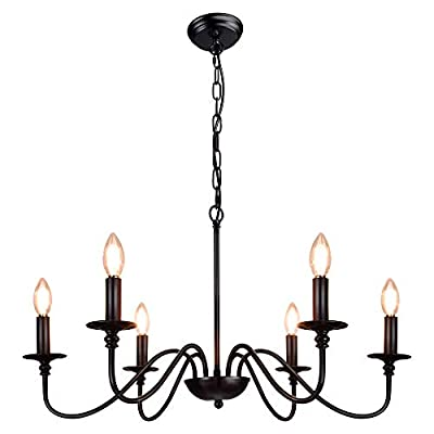 Depuley Black Farmhouse Chandeliers, 6-Light Industrial Iron Chandeliers Lighting, Classic Candle Ceiling Pendant Light Fixture for Foyer, Living Room, Kitchen Island, Dining Room, Bedroom