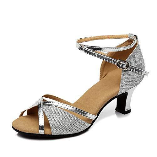 YFCH Damen Outdoor Standard & Latein Schuhe Tanzschuhe Peep-Toe Tanz Schuhe Sandalen Pumps mit 5CM Absatz, Silber, 39/39.5 EU(Label: 41)
