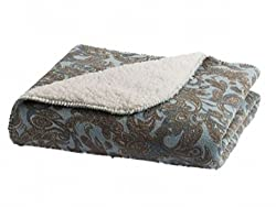 Sonoma Blue Paisley Sherpa Fleece Micromink Plush Throw Blanket