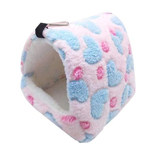 CBVG Winter Warmes Bett Haus Ratte Nest Hängendes Bett Kleines Haustier Hamster Meerschweinchen Kaninchen Eichhörnchen Igel Bett Haus Nest, Pink
