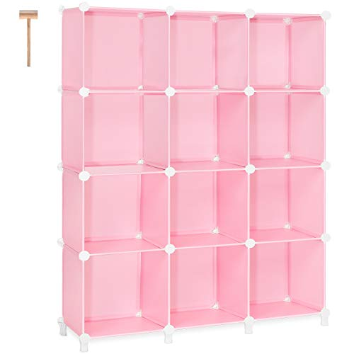TomCare Cube Storage 12-Cube Storage Shelves Cube Organizer Closet Organizer DIY Bookshelf Bookcase Plastic Storage Cubes Shelf Clothes Storage Organizer Shelves for Bedroom Living Room Office, Pink