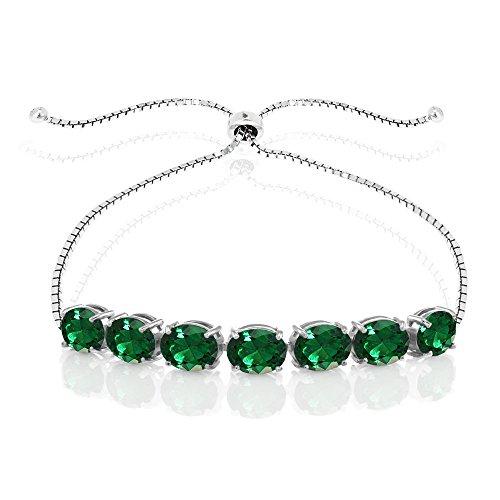 GemStar USA Sterling Silver Simulated Emerald 9x7mm Oval-Cut Adjustable Bracelet
