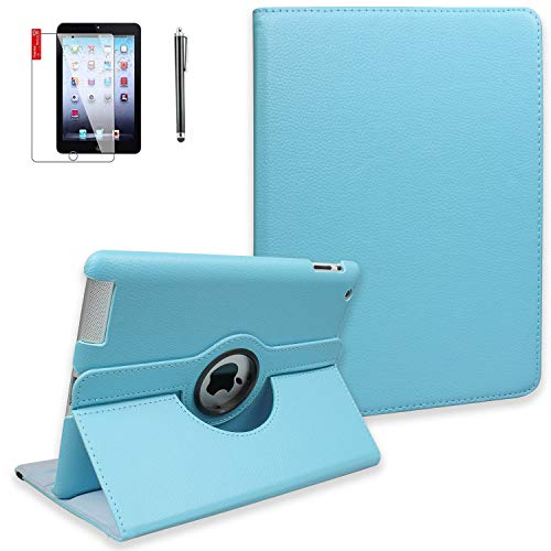 iPad Air 2 Case with Screen Protector and Stylus - 360 Degree Rotating Stand, Smart Auto Sleep/Wake, Leather Full Body Protective Cover for Apple iPad Air 2 - A1566 A1567 MGKL2LL/A (Sky Blue)