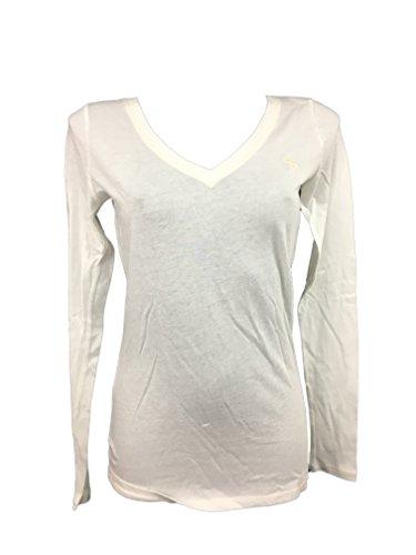 Abercrombie & Fitch Donna T-Shirt Manica Lunga (Bianco, X-Small)
