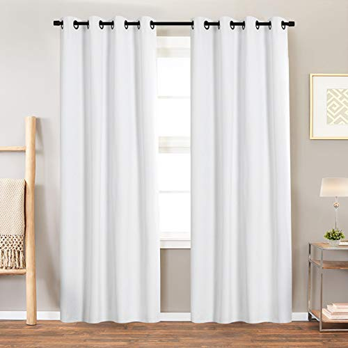 JINCHAN 100% Blackout White Curtain for Bedroom 84 Inch Length Window Treatment Living Room Drapes Grommet Top Sold Individually 1 Panel